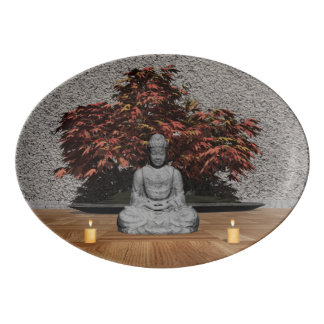 Buddha in a room - 3D render Porcelain Serving Platter