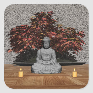 Buddha in a room - 3D render Square Sticker