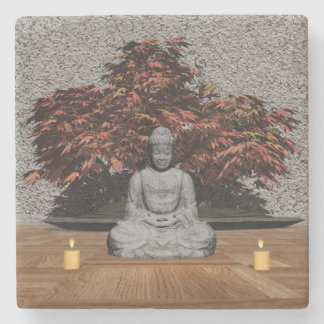Buddha in a room - 3D render Stone Coaster