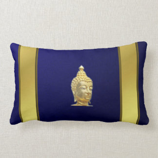 buddha in blue gold  stripes lumbar pillow
