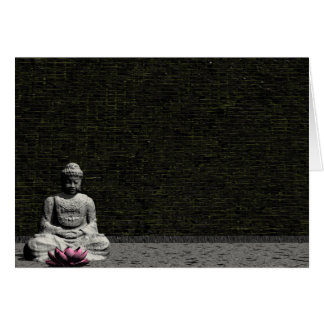 Buddha in grey room - 3D render Card