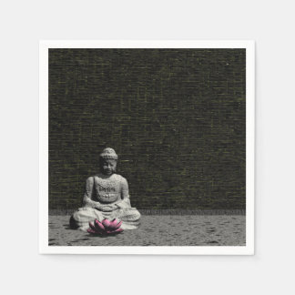 Buddha in grey room - 3D render Disposable Napkin