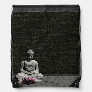 Buddha in grey room - 3D render Drawstring Bag