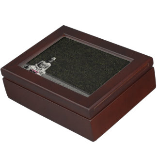 Buddha in grey room - 3D render Keepsake Box
