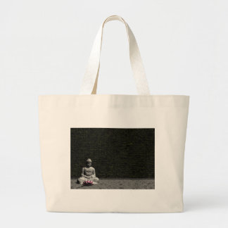Buddha in grey room - 3D render Large Tote Bag