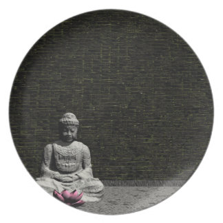 Buddha in grey room - 3D render Plates