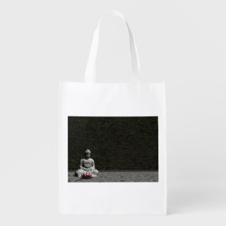 Buddha in grey room - 3D render Reusable Grocery Bag