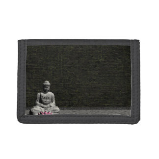 Buddha in grey room - 3D render Trifold Wallet