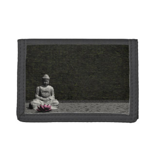 Buddha in grey room - 3D render Trifold Wallets