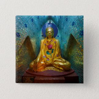 Buddha In Ornate Alcove 2 Inch Square Button