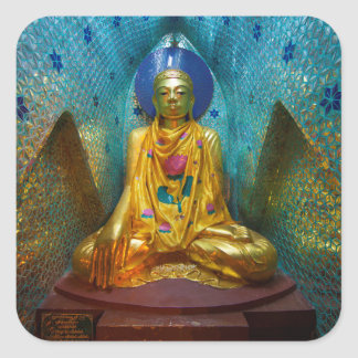 Buddha In Ornate Alcove Square Sticker