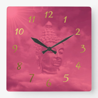 buddha in pink square wall clock