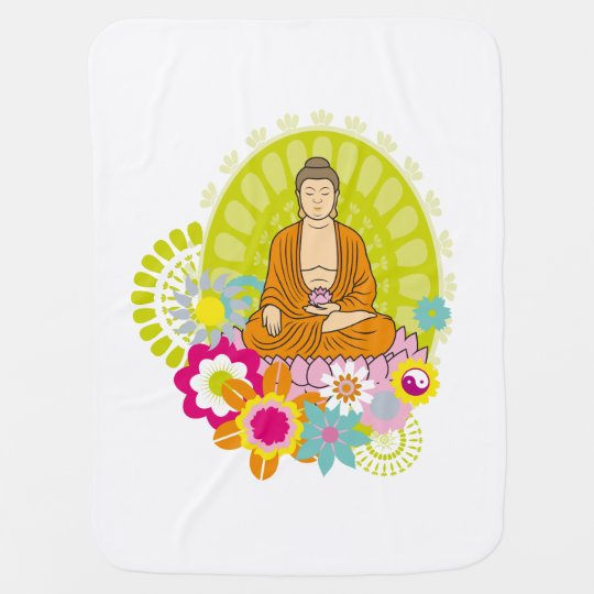 Buddha in Spring Flowers Baby Blankets