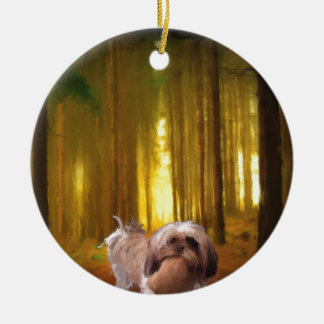 buddha in the forrest.jpg round ceramic ornament