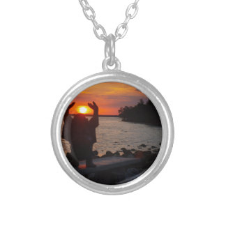 Buddha In the Sunset Silver Plated Necklace