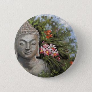 Buddha & Jungle Flowers 2 Inch Round Button