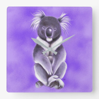 Buddha koala square wall clock