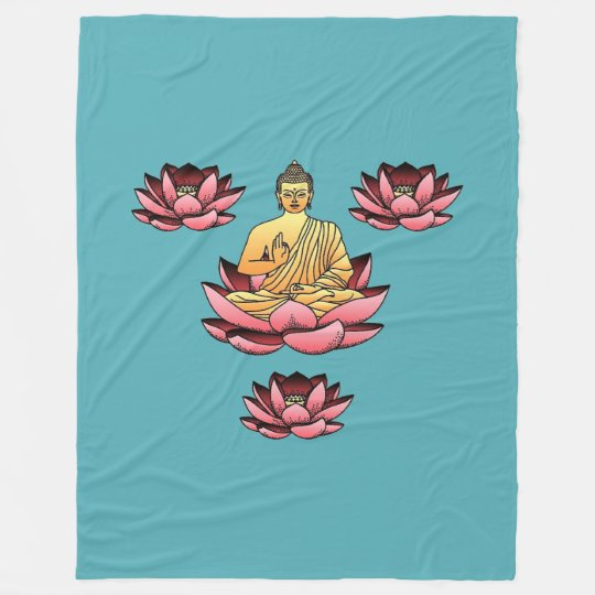 Buddha & Lotus Fleece Blanket