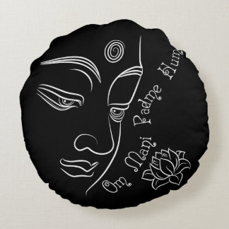 Buddha Lotus Om Mani Padme Hum Round Pillow