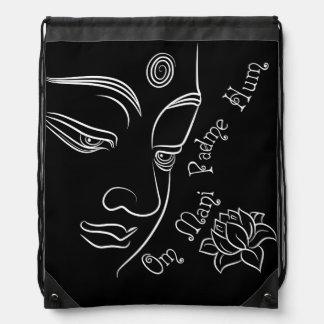Buddha Lotus Om Mani Padme Hum on black Cinch Bags