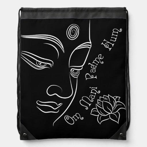 Buddha Lotus Om Mani Padme Hum on black Drawstring Bags