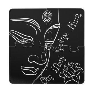 Buddha Lotus Om Mani Padme Hum Puzzle Coaster