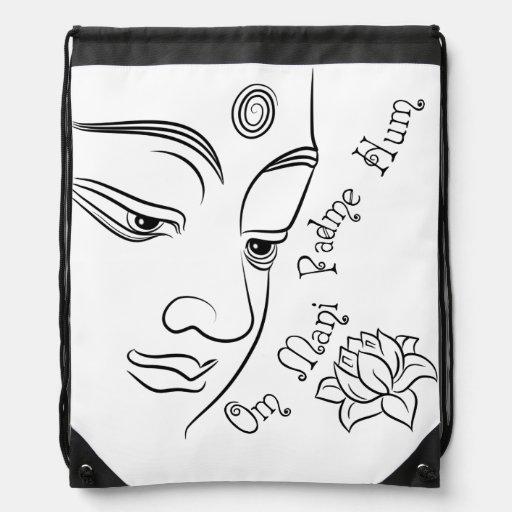 Buddha Lotus Om Mani Padme Hum Cinch Bag