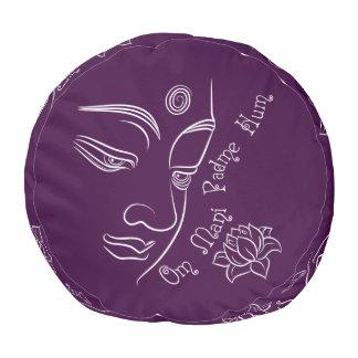Buddha Lotus Om Mani Padme Hum White Round Pouf