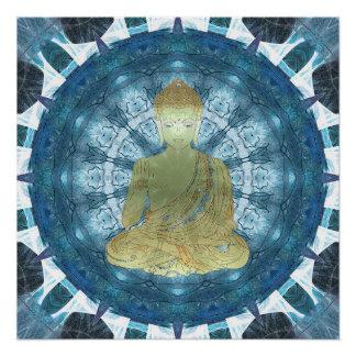Buddha Mandala applied (blue) Poster