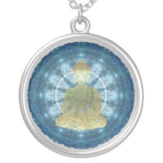 Buddha Mandala applied (blue) Silver Plated Necklace