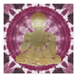 Buddha Mandala applied (rose) Poster