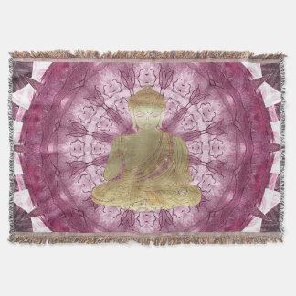 Buddha Mandala applied (rose) Throw Blanket