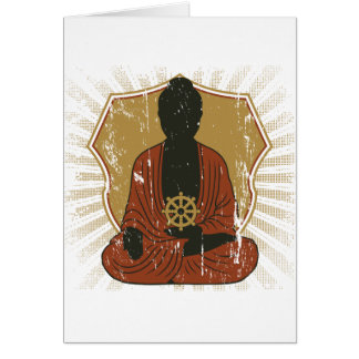 Buddha Meditating Dharma Wheel Card