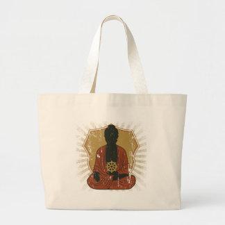 Buddha Meditating Dharma Wheel Jumbo Tote Bag