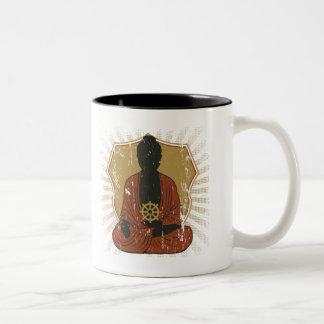 Buddha Meditating Dharma Wheel Two-Tone Coffee Mug