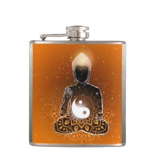 Buddha Meditation Ying Yang Design Hip Flask
