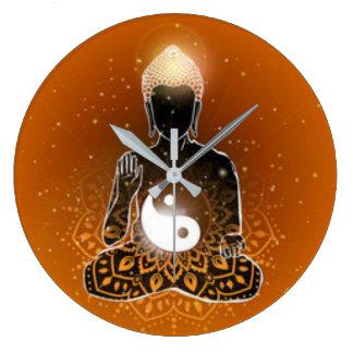 Buddha Meditation Ying Yang Design Large Clock
