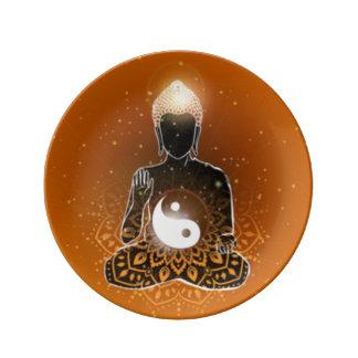 Buddha Meditation Ying Yang Design Plate