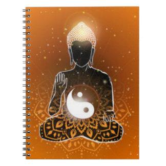 Buddha Meditation Ying Yang Design Spiral Notebook
