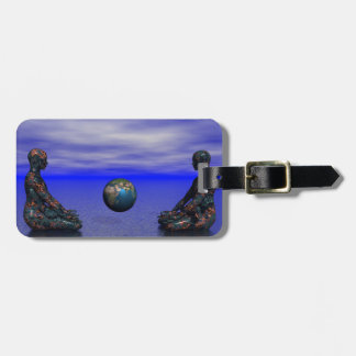 buddha metal and planet luggage tag