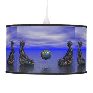 buddha metal and planet pendant lamp