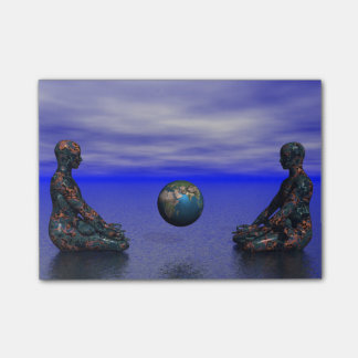 buddha metal and planet post-it® notes