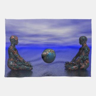 buddha metal and planet towel