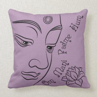 Buddha Om Mani Padme Hum Black Throw Pillows