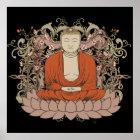 Buddha On Lotus Flower Poster
