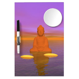 buddha orange and steps yellow dry erase board with mirror