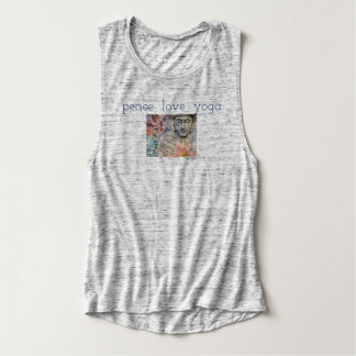 Buddha Peace Love Yoga Relaxed Muscle Tank