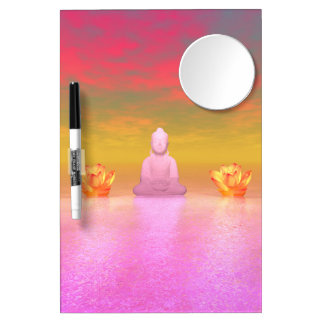 buddha pink and water lily orange dry erase board with mirror