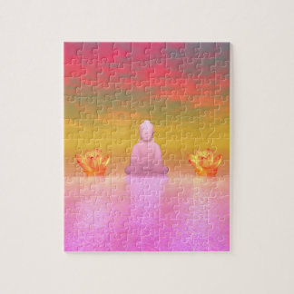 buddha pink and water lily orange jigsaw puzzle