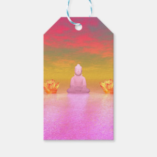 buddha pink and water lily orange pack of gift tags